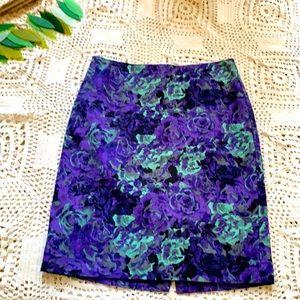 Pretty floral Talbots pencil skirt
